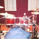 This is the drum set up in Studio B.
